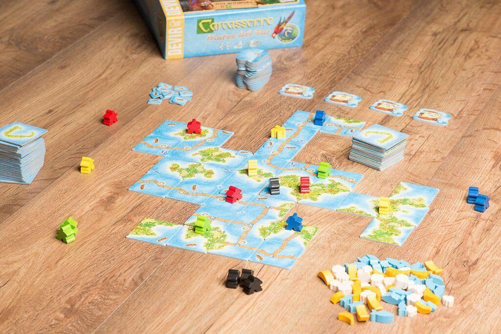 Carcassonne mares del sur, juegos de mesa de aventuras en el mar y gestión de recursos